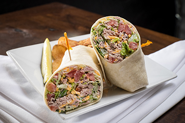 Joe's Deli - I Love Leah Wrap, Roast beef with horseradish mayo, cheddar, lettuce, tomato, and mild banana pepper rings.