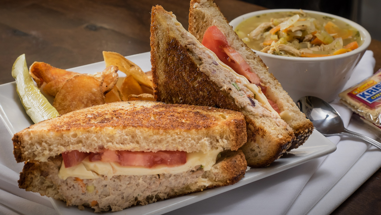 Tuna melt and homemade soup, Joe's Deli hot deli sandwiches, fresh ingredients