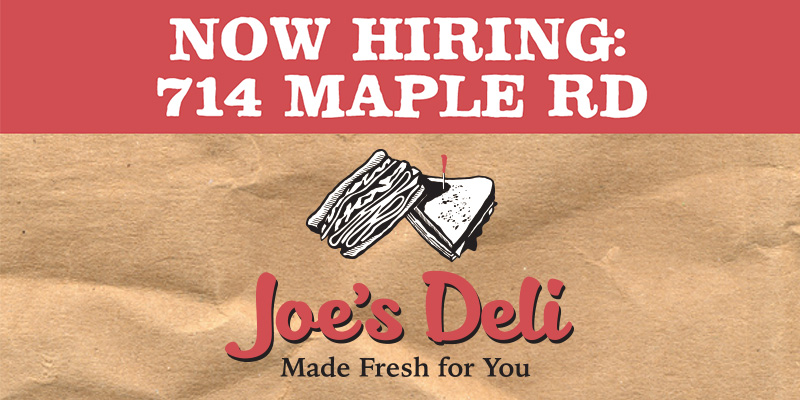 Joe's Deli, Joe's, Now Hiring, 714 Maple Rd, Northtown Deli, Buffalo NY Deli